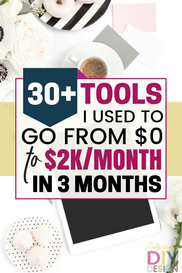 Learn all about my absolute favorite, can't-run-my-blog-without-them tools that helped me go from launch to $2k per month after only 3 months. Make more money blogging with these blogging resources to help you grow your blog and make money from home. #blogging #bloggrowth #makemoneyblogging #bloggingtools