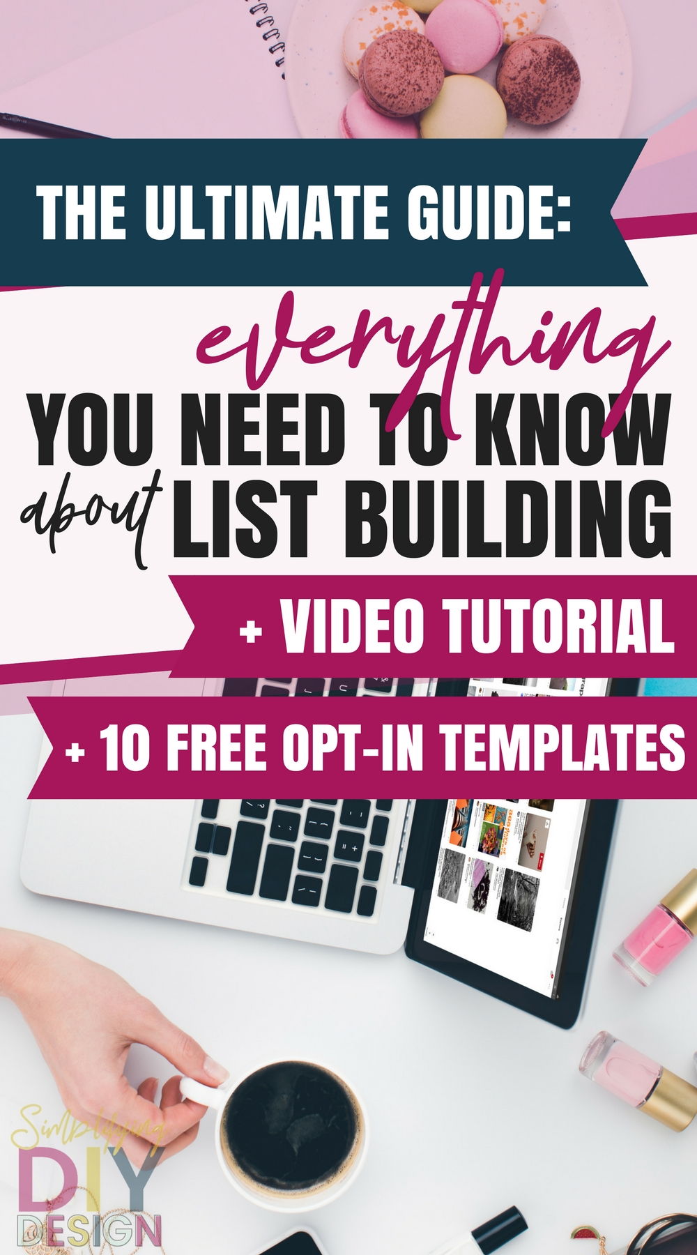 Computer desk top with title of image: The Ultimate Guide: Everything You Need To Know About List Building + Video Tutorial + 10 Free Opt-in Templates