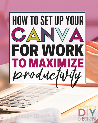 Find out exactly how to set up your Canva for Work account to maximize productivity, save time, and design faster. Customize it to match your blogging brand and get more organized. Time matters when you're a blogger- making these little changes can make a big difference! #blogger #productivity #canvatricks #canvaideas #canvaforwork #timemanagement