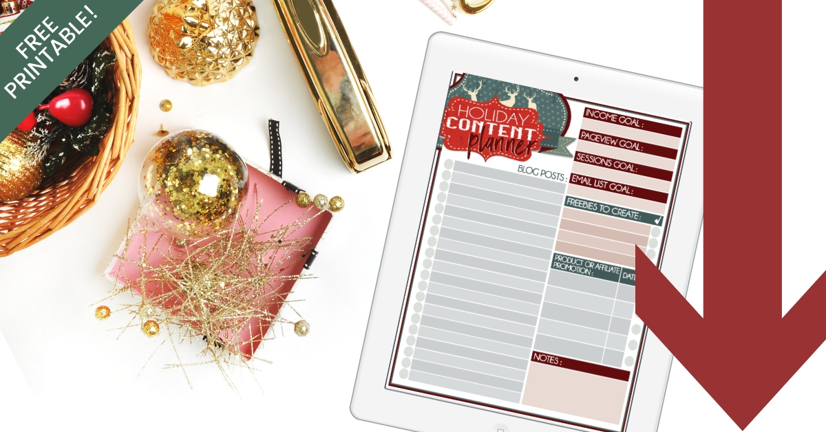 Bloggers!! Check out this free printable holiday content planner! Beautifully designed, easy to laminate and use over and over! I love how this can help me get more traffic over the holidays and plan my content and promotions out all on one sheet! #holidaytraffic #blogging #simplifyingdiydesign