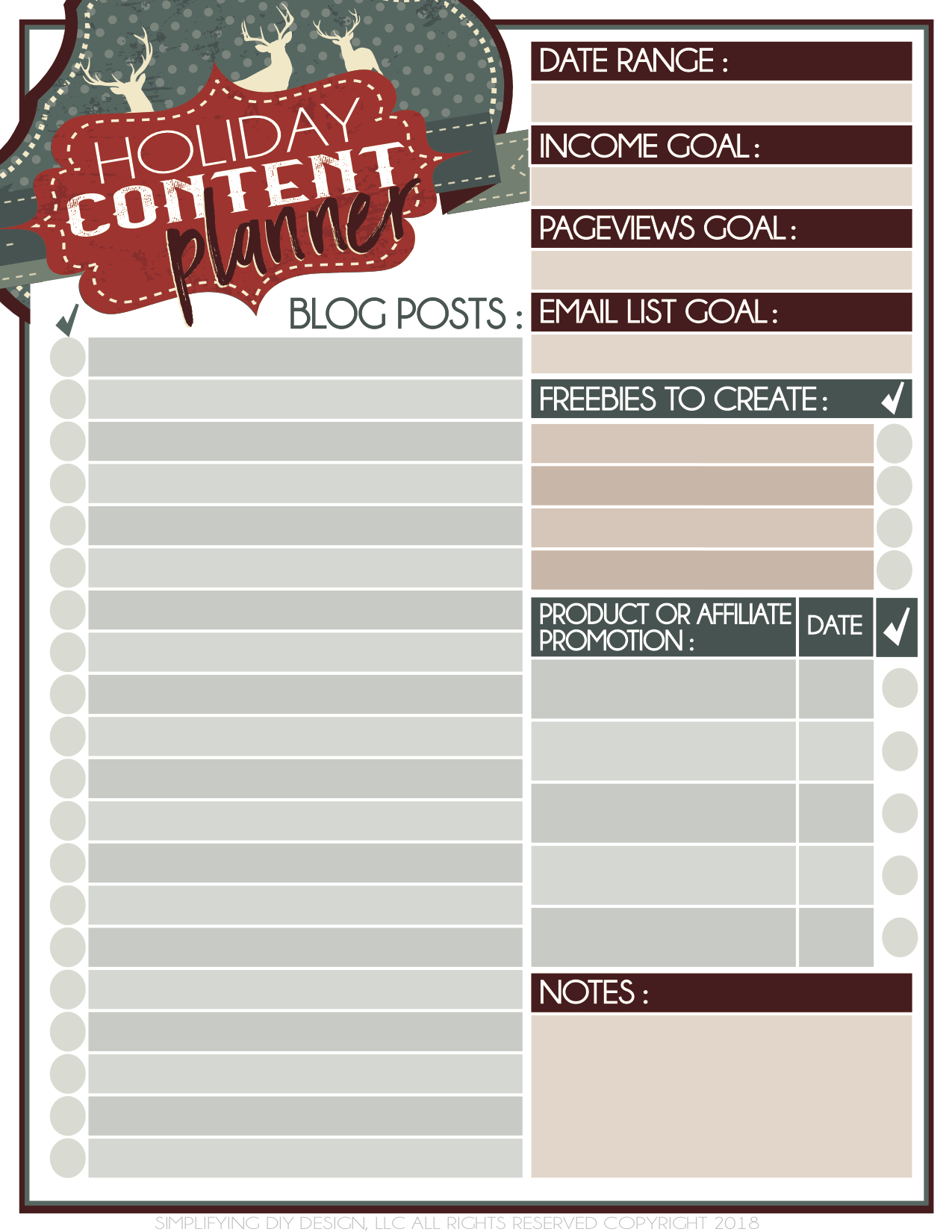 This holiday content planner will help you plan your fourth quarter and your holiday content so that you can get more blog traffic, more subscribers, and more income! Free printable! #freeprintable #holidaycontent #blogplanner #simplifyingdiydesign