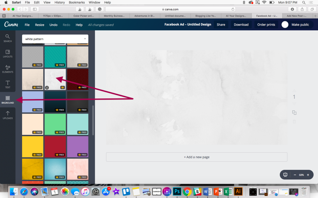 Choosing a background in Canva