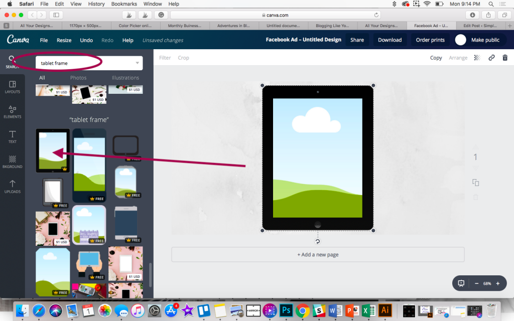 Using a tablet frame in canva