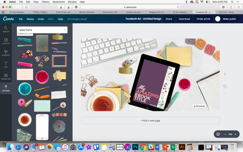Using a scene creator in Canva