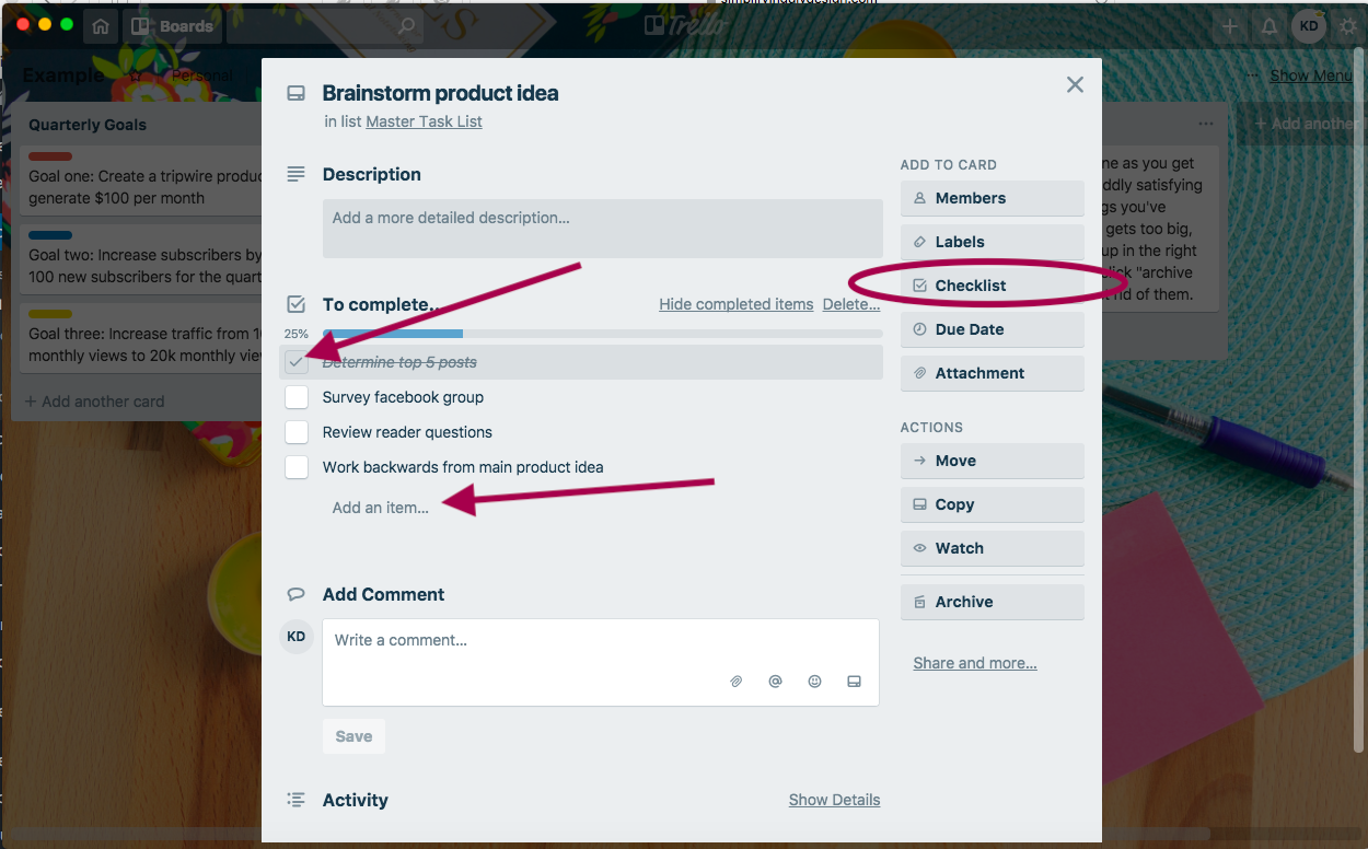How to add a checklist to a trello card