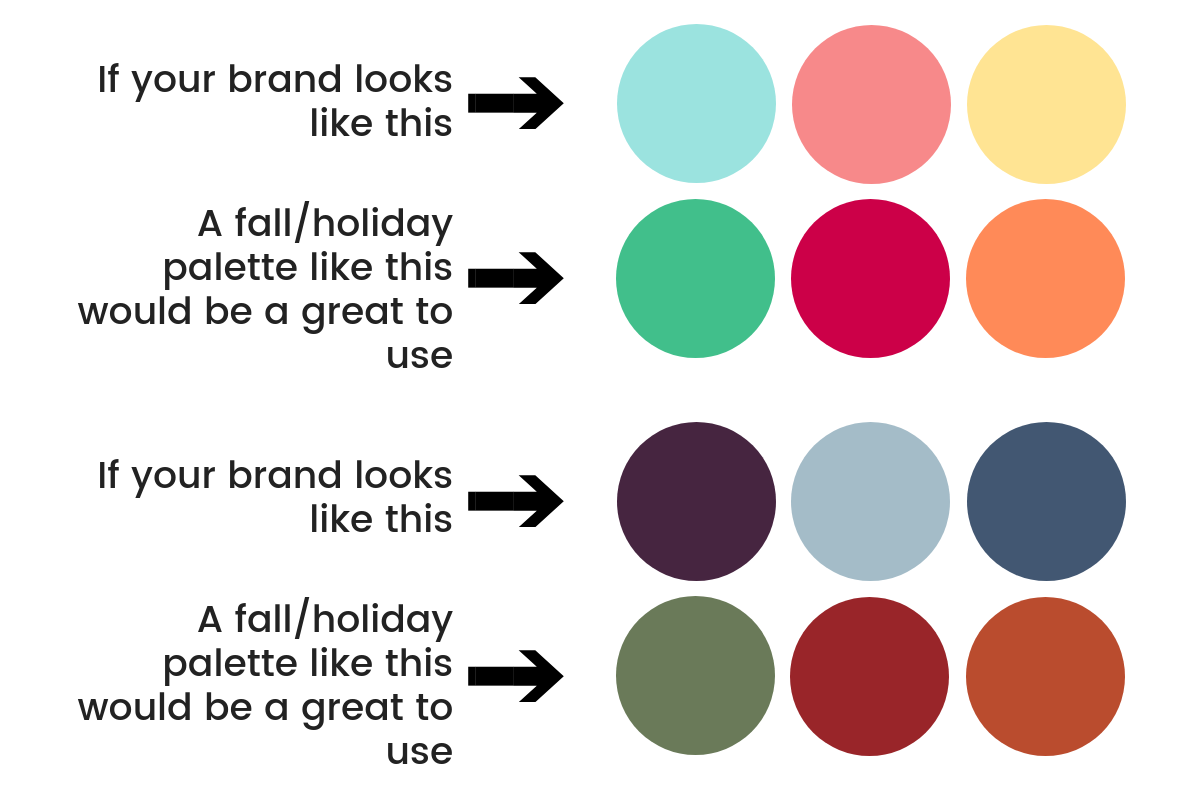 Choosing colors for holiday content that complement your brand color palette